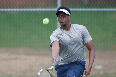 Platt's Kemar Campbell during a double match Friday at Columbus Park in Meriden  May. 1, 2015 | Justin Weekes / For the Record-Journal