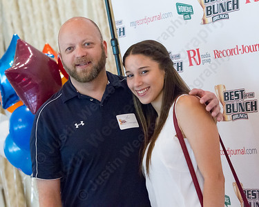 Platt's head coach Lou Gianacopolos and Gabriela Vazquez Sunday during the Record Journal Best of the Bunch Brunch held at the Aqua Turf Club in Plantsville Jun. 26, 2016 | Justin Weekes / For the Record-Journal