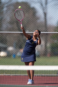 Platt's Angela Evans serves Thursday at Washington Park in Meriden  Apr. 14, 2016 | Justin Weekes / For the Record-Journal
