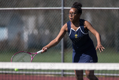 Platt's Angela Evans reaches for a drop shot in her double match Thursday at Washington Park in Meriden  Apr. 14, 2016 | Justin Weekes / For the Record-Journal