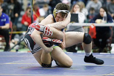 Platt's Ben Stratton and Killingly's Zach Caffrey Saturday at the CIAC State Wrestling Open at Flyod Little Athletic Center in New Haven February 24, 2018 | Justin Weekes / Special to the Record-Journal