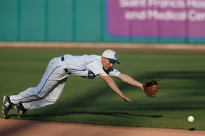 Southington's Daniel Topper dives for a hit Thursday at Dunkin' Donuts Park in Hartford May 10, 2018 | Justin Weekes / Special to the Record-Journal
