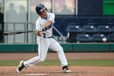 Southington's Andrew Paradis drives in a run Thursday at Dunkin' Donuts Park in Hartford May 10, 2018 | Justin Weekes / Special to the Record-Journal