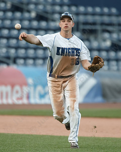 Southington's Kyle Leifert throws out a runner Thursday at Dunkin' Donuts Park in Hartford May 10, 2018 | Justin Weekes / Special to the Record-Journal
