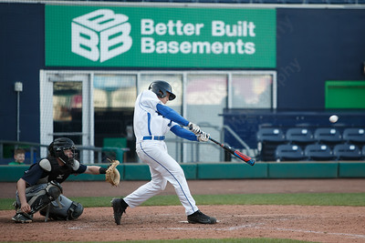 Southington's Jake Neuman drives one for a double Thursday at Dunkin' Donuts Park in Hartford May 10, 2018 | Justin Weekes / Special to the Record-Journal