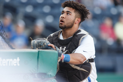 Southington's Christian Vargas chases a foul ball Thursday at Dunkin' Donuts Park in Hartford May 10, 2018 | Justin Weekes / Special to the Record-Journal