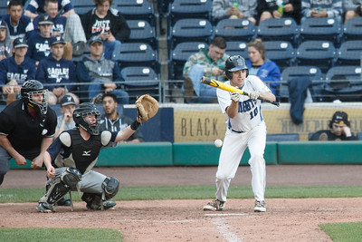 Southington's Jeremy Mercier tries to get a bunt in play Thursday at Dunkin' Donuts Park in Hartford May 10, 2018 | Justin Weekes / Special to the Record-Journal