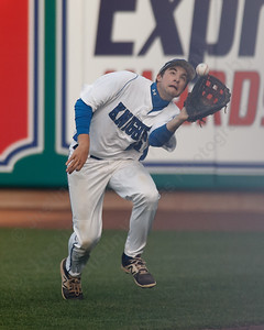 Southington's Dylan Chiaro brings in a fly ball Thursday at Dunkin' Donuts Park in Hartford May 10, 2018 | Justin Weekes / Special to the Record-Journal