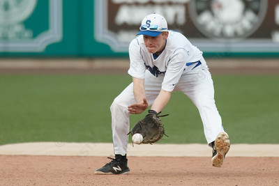 Southington's Jacob Romano fields a ground ball Thursday at Dunkin' Donuts Park in Hartford May 10, 2018 | Justin Weekes / Special to the Record-Journal