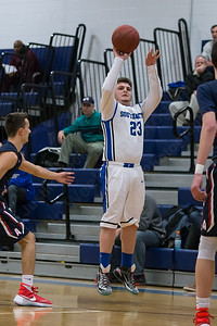 Southington's Nathan Blitz puts up a three point shot Thursday at Southington High School in Southington  Feb. 11, 2016 | Justin Weekes / For the Record-Journal