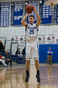 Southington's Jacob Flynn hits a three point shot Monday at Southington High School in Southington January 8, 2018 | Justin Weekes / Special to the Record-Journal