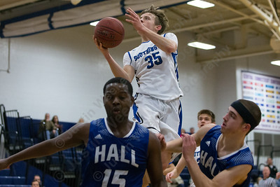 Southington's Andrew Lohneiss lays in a basket after a fast break Monday at Southington High School in Southington January 8, 2018 | Justin Weekes / Special to the Record-Journal