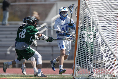 Southington's Ethan Thomson gets a shot on goal Saturday at Southington High School in Southington April 21, 2018 | Justin Weekes / Special to the Record-Journal