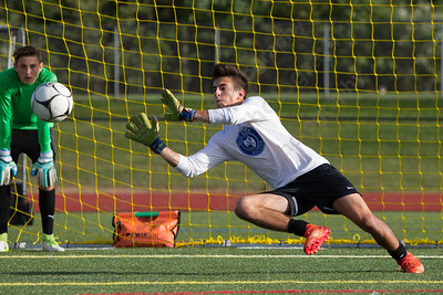 Southington's Evan Daddona warms up for a scrimmage with Granby Memorial Friday during practice at Southington High School in Southington Sep. 1, 2017 | Justin Weekes / For the Record-Journal