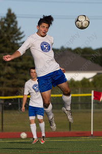 Southington's Elijah Rodriguez gets a header on goal Friday during practice at Southington High School in Southington Sep. 1, 2017 | Justin Weekes / For the Record-Journal