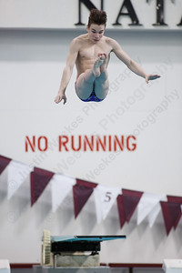 Southington's Chase Galayda in his fourth dive Thursday during the CIAC Diving open at Bulkeley High School in Hartford March 15, 2018 | Justin Weekes / Special to the Record-Journal