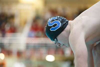 Southington's Alexander Kuhr gets set for the start of the 50 free Wednesday during the CIAC Class LL swimming finals at the Wesleyan Natatorium in the Freeman Athletic Center on the campus of Wesleyan University in Middletown March 14, 2018 | Justin Weekes / Special to the Record-Journal