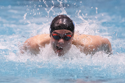 Southington's Brendon Egan in the 100 butterfly Wednesday during the CIAC Class LL swimming finals at the Wesleyan Natatorium in the Freeman Athletic Center on the campus of Wesleyan University in Middletown March 14, 2018 | Justin Weekes / Special to the Record-Journal