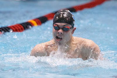 Southington's Brendon Egan in the 200 medley relay Wednesday during the CIAC Class LL swimming finals at the Wesleyan Natatorium in the Freeman Athletic Center on the campus of Wesleyan University in Middletown March 14, 2018 | Justin Weekes / Special to the Record-Journal