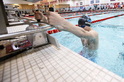 Southington's Tyler Heidgerd gets set to start the 200 medley relay in heat B final Wednesday during the CIAC Class LL swimming finals at the Wesleyan Natatorium in the Freeman Athletic Center on the campus of Wesleyan University in Middletown March 14, 2018 | Justin Weekes / Special to the Record-Journal