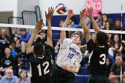 Southington's Adam Hunter finds a crease in the blockers Friday at Southington High School in Southington May 18, 2018 | Justin Weekes / Special to the Record-Journal