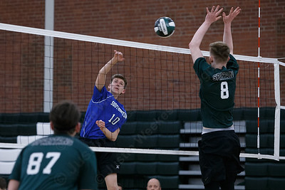 Southington's Adam Hunter gets a spike off Wednesday at Maloney High School in Meriden April 25, 2018 | Justin Weekes / Special to the Record-Journal