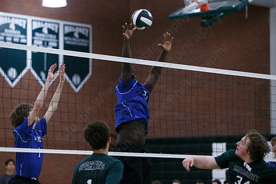 Southington's Jonathan Clark blocks a shot Wednesday at Maloney High School in Meriden April 25, 2018 | Justin Weekes / Special to the Record-Journal