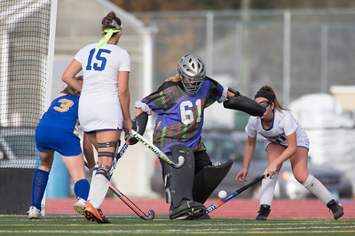 Southington's Madeline Belfonti comes out to stop a Newtown shot Monday during a qualifying round in Class L of the CIAC Tournament at Fontana Field in Southington November 6, 2017 | Justin Weekes / For the Record-Journal