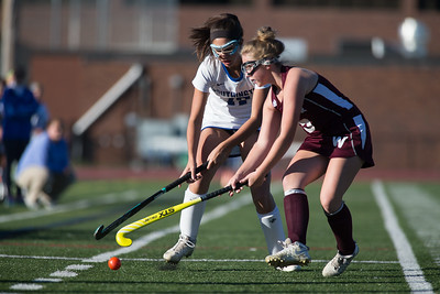 Southington's Nicole Martocchio and Windsor's Saffron Gaudiosi battle for possession Tuesday at Fontana Field in Southington October 17, 2017 | Justin Weekes / For the Record-Journal