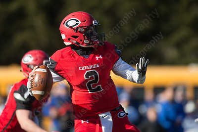 Cheshire's Jack Raba looks deep Thursday during the 22nd Annual Apple Classic on Thanksgiving Day at Alumni Field on the campus of Cheshire High School in Cheshire. The Blue Knights of Southington defeated the Cheshire Rams 30 to 22. November 23, 2017 | Justin Weekes / For the Record-Journal