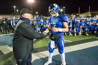 Southington's Jacob Drena recieved the offensive MVP award from Athletic Director Greg Ferry Wednesday during the 23rd Annual Apple Valley Classic at Fontana Field on the campus of Southington high School in Southington November 21, 2018 | Justin Weekes / Special to the Record-Journal