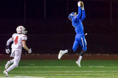 Southington's defensive back William Downes intercepts a pass from Fairfield Prep's John Iaropoli Tuesday during the CIAC Class LL quarterfinal round at Fontana Field in Southington November 27, 2018   Justin Weekes / Special to the Record-Journal