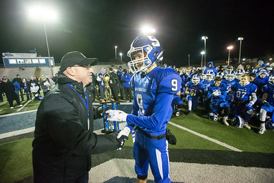 Southington's William Downes recieved the defensive MVP award from Athletic Director Greg Ferry Wednesday during the 23rd Annual Apple Valley Classic at Fontana Field on the campus of Southington high School in Southington November 21, 2018 | Justin Weekes / Special to the Record-Journal
