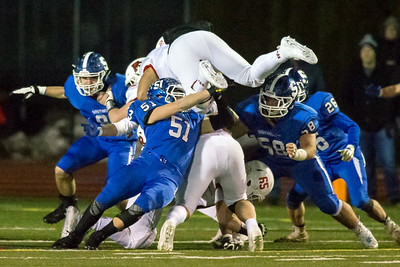 Southington's line backer William Carr stops Fairfield Prep's running back Douglas Harrison III Tuesday during the CIAC Class LL quarterfinal round at Fontana Field in Southington November 27, 2018   Justin Weekes / Special to the Record-Journal
