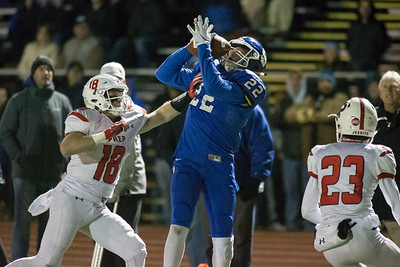 Southington's wide receiver Weston Brick comes up with the deep ball just short of the goal line to end the half Tuesday during the CIAC Class LL quarterfinal round at Fontana Field in Southington November 27, 2018   Justin Weekes / Special to the Record-Journal