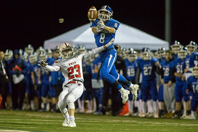 Southington's wide receiver Jacob Flynn just misses a pass from Jacob Drena Tuesday during the CIAC Class LL quarterfinal round at Fontana Field in Southington November 27, 2018   Justin Weekes / Special to the Record-Journal
