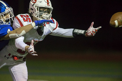 Southington's defensive back Stephen Witte break up a pass to Fairfield Prep's wide receiver Max McGillicuddy Tuesday during the CIAC Class LL quarterfinal round at Fontana Field in Southington November 27, 2018 | Justin Weekes / Special to the Record-Journal