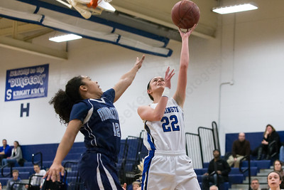 Southington's Hartlee Meier beats Middletown's Evahna McDaniel for two Thursday during first round play in the CCC tournament at Southington High School in Southington Feb. 18, 2016 | Justin Weekes / For the Record-Journal