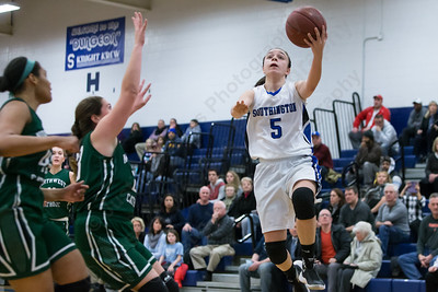Southington's Margaret Meehan gets an open look at a layup Monday at Southington High School in Southington Jan. 25, 2016 | Justin Weekes / For the Record-Journal