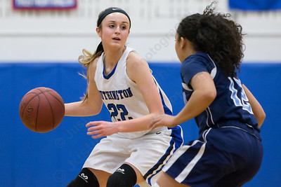 Southington's Hartlee Meier guarded by Middletown's Evahna McDaniel Thursday during first round play in the CCC tournament at Southington High School in Southington Feb. 18, 2016 | Justin Weekes / For the Record-Journal