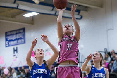 Southington's Margaret Meehan puts in a layup Friday at Southington High School in Southington Jan. 29, 2016 | Justin Weekes / For the Record-Journal