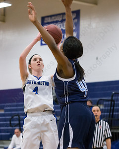 Southington's Sarah Minkiewicz pulls up for a shot as Middletown's Brielle Wilborn defends Thursday during first round play in the CCC tournament at Southington High School in Southington Feb. 18, 2016 | Justin Weekes / For the Record-Journal