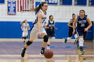 Southington's Margaret Meehan pushes the fast break Thursday during first round play in the CCC tournament at Southington High School in Southington Feb. 18, 2016 | Justin Weekes / For the Record-Journal