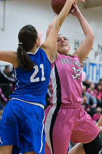 Southington's Victoria-Elizabeth Reynolds pivots to beat Glastonbury's Cameron Hendricks Friday at Southington High School in Southington Jan. 29, 2016 | Justin Weekes / For the Record-Journal