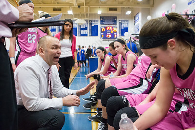 Southington's head coach Mike Forgione talks with players during a time out Friday at Southington High School in Southington Jan. 29, 2016 | Justin Weekes / For the Record-Journal