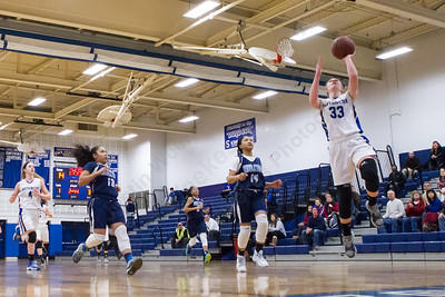 Southington's Janette Wadolowski puts in a lay up off a fast break Thursday during first round play in the CCC tournament at Southington High School in Southington Feb. 18, 2016 | Justin Weekes / For the Record-Journal