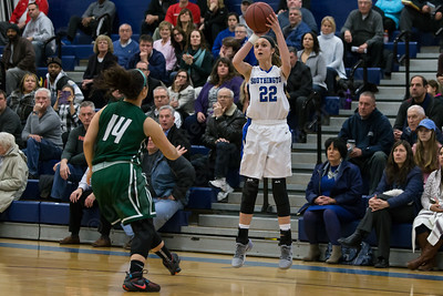 Southington's Hartlee Meier hits a three point shot as Northwest Catholic's Athena Feola defends Monday at Southington High School in Southington Jan. 25, 2016 | Justin Weekes / For the Record-Journal