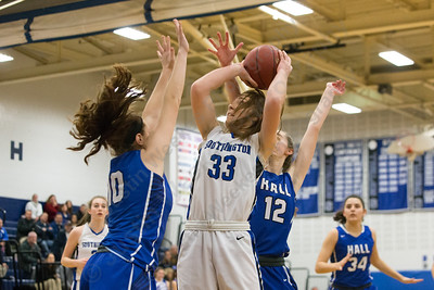 Southington's Janette Wadolowski drives for two Thursday during the season opener at Southington High School in Southington December 14, 2017 | Justin Weekes / For the Record-Journal