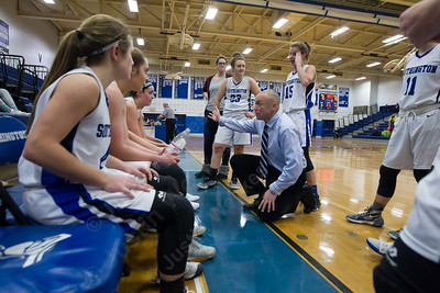 Southington's head coach Mike Forgione talks with players during the first break Tuesday at Southington High School in Southington January 2, 2018 | Justin Weekes / Special to the Record-Journal