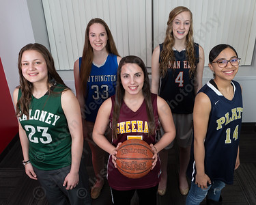 The All Record Journal girls basketball team from left front Maloney's Melanie Polanco, Sheehan's Lexi Ocasio, Platt's Jasmin Mitchell rear left Southington's Janette Wadolowski and Lyman Hall's Reilly Campbell Wednesday in Meriden Mar. 23, 2016 | Justin Weekes / For the Record-Journal